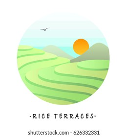 The landscape view of rice terraces inside cycle frame on white background.(EPS10 art vector)