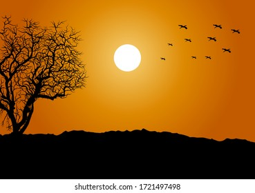 Landscape view with sunset image for background. Panorama concept design for wallpaper, backdrop. Eps 10
