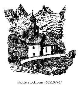 Landscape view of a wooden old church on a backdrop of Alpine mountains in Tyrol, sketch, hand-drawn vector illustration