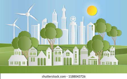 Landscape of village in nature, Eco green city, GO GREEN SAVE THE WORLD concept, Paper art style. Vector illustration