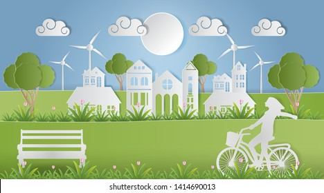 Landscape of village in nature and people relaxing in parks, Environmentally eco friendly world, Paper art style. Vector illustration