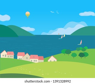 Landscape with village rural houses on seaside cartoon. Hand drawn sunny day in rural community on lake bank. Flat vector summer seascape. Sailing boat on calm water. Vacation travel to sea background