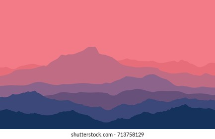 Landscape with violet, blue and purple silhouettes of mountains and hills with beautiful bloody evening sky. Huge mountain range silhouettes in twilight. Vector illustration.