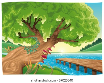 Landscape with water. Vector illustration, isolated objects