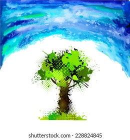 Landscape watercolor tree of ink spots and sky. Vector