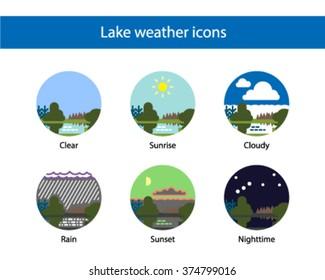 Landscape weather round icon set, colored.