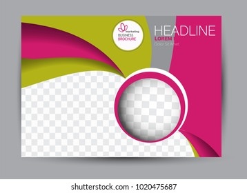 Landscape wide flyer template. Billboard banner abstract background design. Business, education, presentation, advertisement concept. Pink and green color. Vector illustration.
