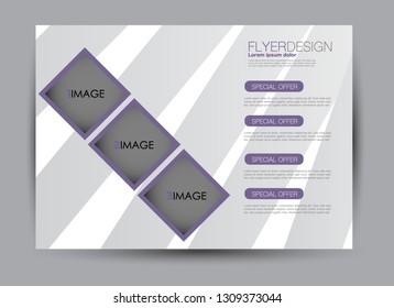 Landscape wide flyer template. Billboard banner abstract background design. Business, education, presentation, advertisement concept. Purple color. Vector illustration.