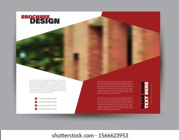 Landscape wide flyer template. Billboard banner abstract background design. Business, education, presentation, advertisement concept. Red color. Vector illustration.