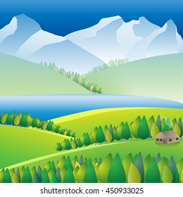 Landscape Wilderness landscape with river and mountains.