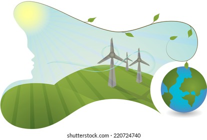 Landscape with wind energy power plant and planet earth. The mother nature is helping generate a green energy