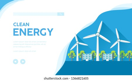 Landscape with wind turbines, solar panels using for producing electricity. Vector concept of renewable, clean, sustainable energy. Ecological modern technology banner. Place for text, copy space.