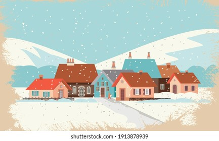 Landscape in winter with a small town and mountains. Vector illustration in the flat style