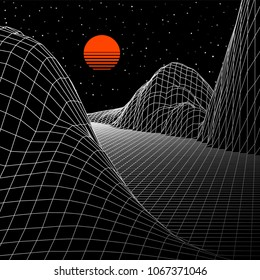 Landscape with wireframe grid of 80s styled retro computer game or science inspired background 3d structure with sun and mountains or hills