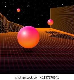 Landscape with wireframe grid of 80s styled retro computer game or science inspired background 3d structure with crystal spheres and mountains or hills