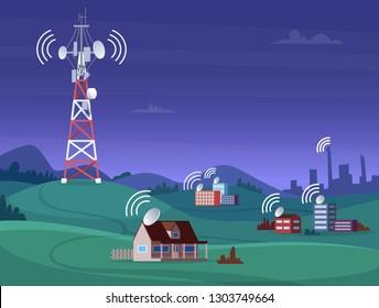 Landscape wireless tower. Satelite antena mobile coverage television radio cellular digital signal vector illustration