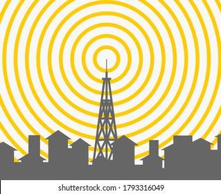 Tour sans fil paysager. antennes satellite couverture mobile télévision radio signal numérique cellulaire illustration vectorielle