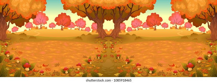 Landscape in the wood with mushrooms. Vector cartoon illustration