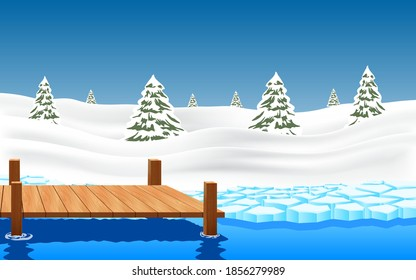 landscape of wooden bridge on the glacier at the geographic pole