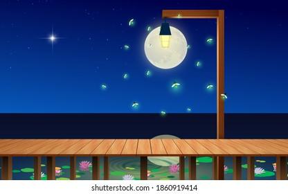 landscape of wooden bridge on the lagoon in the full moon night