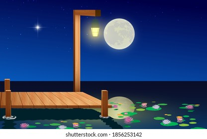 landscape of wooden bridge on the lotus swamp in the full moon night