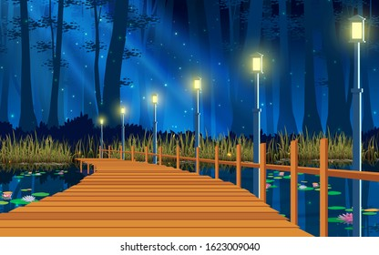 landscape of wooden bridge on the river in the night