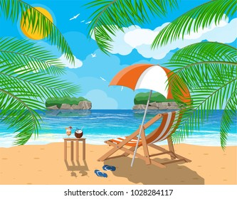 Landscape of wooden chaise lounge, palm tree on beach. Umbrella and flip flops. Sun with reflection in water and clouds. Day in tropical place. Vector illustration in flat style