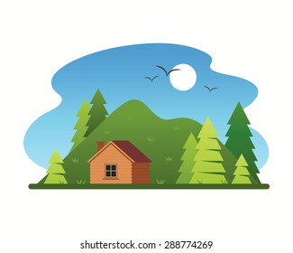 Landscape with wooden house in the mountains.