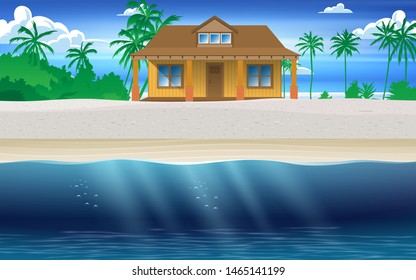 landscape of wooden house on the beach in the island