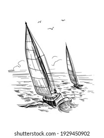 Landscape with yachts and the sea. Outline vector illustration. Yachting . Black on transparent backgroun