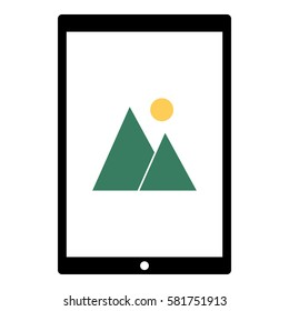Landscape_Picture icon - Flat design, glyph style icon - Colored enclosed in a tablet