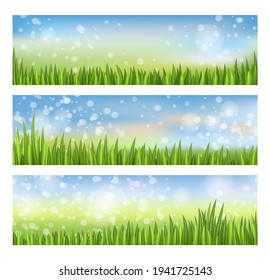 Landscaped lush lawn with growth grass banner set