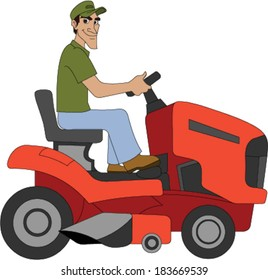Landscaper Driving a Lawn Tractor