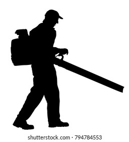 Landscaper operating petrol Leaf Blower in the city park, vector silhouette. Worker on a street in autumn collects leaves with a leaf blower. Communal city job cleaning park. Gardener laborer farmer