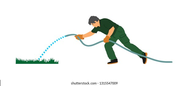 Landscaper watering grass in park vector illustration isolated on white background. Gardener man hand holding water rubber hose tube. Farmer worker outdoor activity. Public field working.