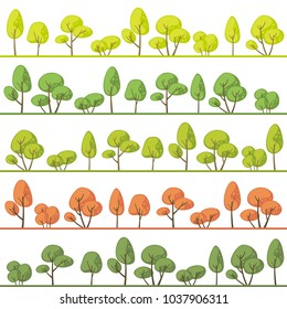 Landscapes with abstract trees in different colors
