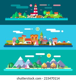 Landscapes by the sea: lighthouse and rocks, city embankment, beach resort. Vector flat illustrations