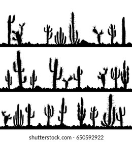 landscapes with cactuses and stones silhouettes, hand drawn vector illustration
