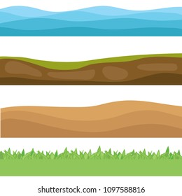 Landscapes of the earth. The sea, the earth, the desert, the green meadow. Set of realistic landscapes. Flat design, vector illustration, vector.