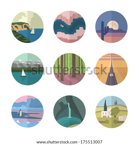 Landscapes icons collection. Different types of landscapes of the Earth. - Landscapes Icons Collection Different Types Landscapes Stock Vector