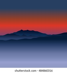 Landscapes with Mountain Peaks on sunset. Vacation and Outdoor. Recreation Concept. Vector illustration background