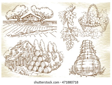 Landscapes with trees and house. Made in vintage style. Lineart on old paper background. Wine bottle, barrels, grape basket.