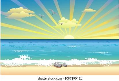 Landscape-sunrise over the ocean