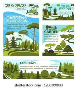 Landscaping design company and urban horticulture planting premium service. Vector green project design of city ecology gardening, forest trees or parkland squares and parks