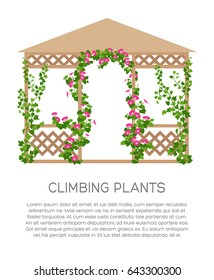 Landscaping and gardening banner, poster or brochure template with flat style illustration and place for text. Vertical gardening sign. Park and garden pavilion. Outdoor decor element.