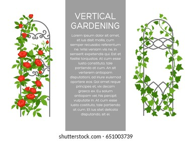 Landscaping and gardening banner, poster or brochure template with flat style illustration and place for text. Vertical gardening sign. Outdoor decor element.