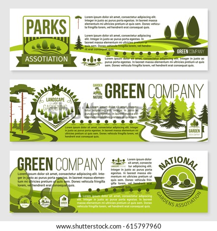 Landscaping Landscape Architecture Banner Template Set Stock Vector ...
