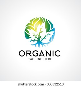 Landscaping logo design concept. Abstract illustration with tree in the circle.The roots and leaves of the tree.