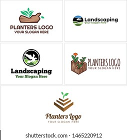 Landscaping logo with leaf plant bird suitable for farmer planters garden nature industry