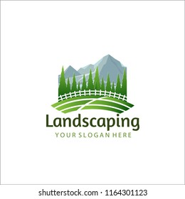 Landscaping logo with white fence and pine forest back ground